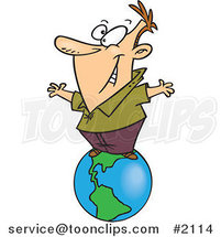Cartoon Business Man Standing on Top of the World by Ron Leishman