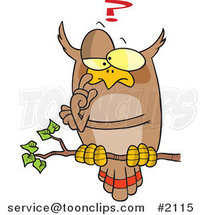Cartoon Pondering Owl Perched on a Branch by Ron Leishman