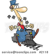 Cartoon Train Engineer Riding a Small Locomotive by Ron Leishman