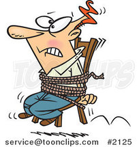 Cartoon Business Man Tied to a Chair and Working Overtime by Ron Leishman