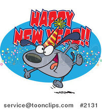 Cartoon Happy New Year Dog by Ron Leishman
