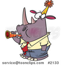Cartoon New Year Rhino Business Man Blowing a Horn by Ron Leishman