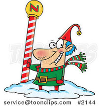 Cartoon Christmas Elf by the North Pole by Ron Leishman