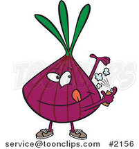 Cartoon Purple Onion Spraying on Deodorant by Ron Leishman