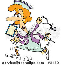 Cartoon Multitasking Nurse by Ron Leishman