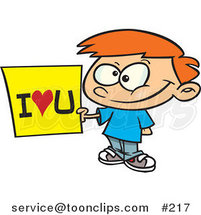 Cartoon Sweet Little Red Haired White Boy Holding an I Love You Sign by Ron Leishman