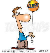Cartoon Guy Holding an Older Birthday Balloon by Ron Leishman