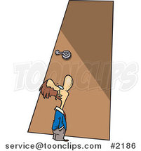 Cartoon Tiny Business Man Looking up at a Door by Ron Leishman
