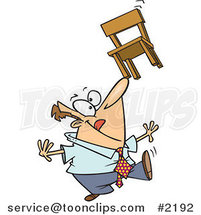 Cartoon Business Man Balancing a Chair on His Nose by Ron Leishman