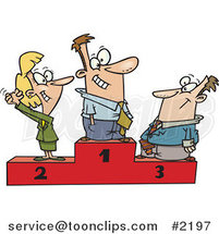 Cartoon Podium of First, Second and Third Place Business People by Ron Leishman