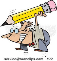 Cartoon Businessman Jumping with a Giant Pencil by Ron Leishman