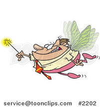 Cartoon Business Man Fairy Holding a Magic Wand by Ron Leishman