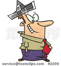 Cartoon Business Man Wearing a Newspaper Hat by Ron Leishman