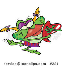 Cartoon Green Female Frog with Blond Hair and Red Lips, Hugging a Red Heart by Ron Leishman