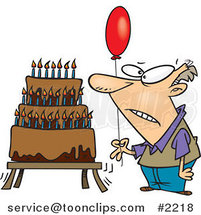 Cartoon Old Guy Holding a Balloon by a Birthday Cake by Ron Leishman