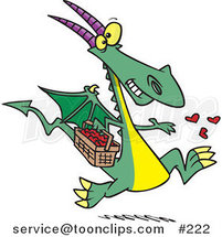 Cartoon Happy Green Dragon in Love, Running with a Basket Full of Hearts, Tossing Them into the Air by Ron Leishman