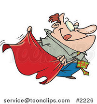 Cartoon Business Man Teasing with a Red Cape by Ron Leishman