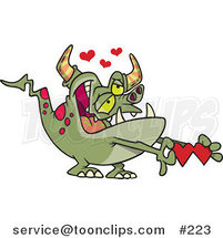 Cartoon Infatuated Green Monster with Pink Spots, Grinning and Holding a Valentine, with Hearts Above by Ron Leishman
