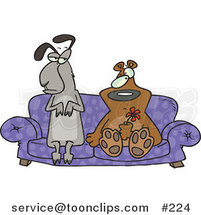 Cartoon Weird Llama and Bear Couple Seated with Confused Expressions on a Purple Couch, the Bear Holding a Red Flower by Toonaday