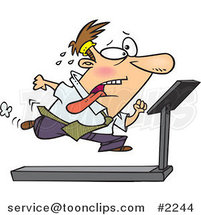 Cartoon Business Man Running on a Treadmill in the Office Gym by Ron Leishman