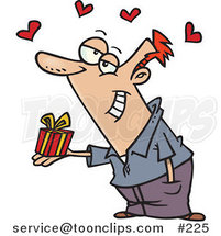 Cartoon Sweet White Guy Delivering a Tiny Gift to His Love, with Red Hearts Floating Above by Ron Leishman