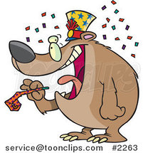 Cartoon New Year Bear Holding a Noise Maker by Ron Leishman