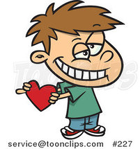 Cartoon Sweet Little White Boy Grinning and Holding a Red Heart Valentine for His Crush by Ron Leishman