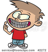 Cartoon Boy Showing His New Braces by Ron Leishman