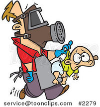 Cartoon New Dad Wearing Protective Gear and Carrying a Baby by Toonaday