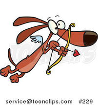 Cartoon Cute Brown Cupid Dog with Tiny Wings, Flying with a Heart Arrow Aimed by Ron Leishman
