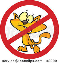 Cartoon No Cat Sign by Toonaday