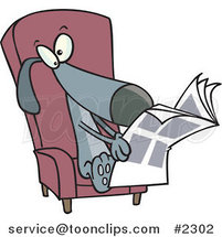 Cartoon Chair and Reading the News by Ron Leishman