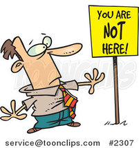 Cartoon Business Man Staring at a You Are Not Here Sign by Toonaday