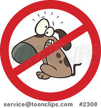 Cartoon Restricted Dog Sign by Ron Leishman