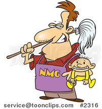 Cartoon Stay at Home Dad Holding a Baby by Ron Leishman
