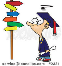 Cartoon Graduate Boy Staring at Many Signs by Ron Leishman