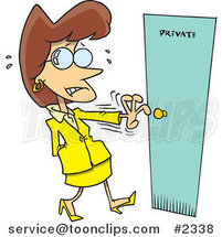 Cartoon Nervous Lady Opening a Private Door by Toonaday