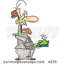 Disgusted Cartoon Prisoner Holding a Plate of Green Food by Toonaday