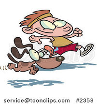Cartoon Dog Running with a Boy by Ron Leishman