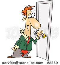 Cartoon Business Man Knocking on a Door by Toonaday