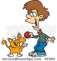 Cartoon Boy Playing with a Kitten by Ron Leishman