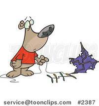 Cartoon Bear with a Crashed Kite by Ron Leishman