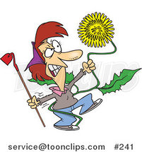 Cartoon Angry Lady Pulling a Giant Dandelion Weed by Toonaday