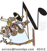 Cartoon Singing Viking Bird with an N Music Note by Ron Leishman