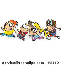 Cartoon Boy Chasing His Friends on His Trike by Ron Leishman