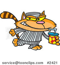 Cartoon Cat Con Drinking a Soda by Ron Leishman