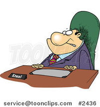Cartoon Business Man with a Kneel Sign on His Desk by Toonaday