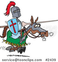 Cartoon Jousting Knight on a Horse by Ron Leishman