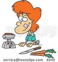 Cartoon Red Haired Lady Weighing Her Food by Toonaday