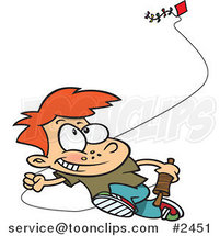 Cartoon Boy Flying a Kite - 2 by Ron Leishman